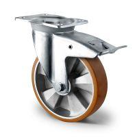 Rueda giratoria con freno de doble rodamiento de bolas Ø125mm ALU / PU