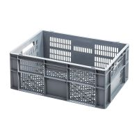 Caja de plástico apilable Euronorm 600x400x240mm perforada