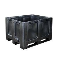Paletbox de plástico reciclado 1200x1000x760mm cerrado con 3 patines